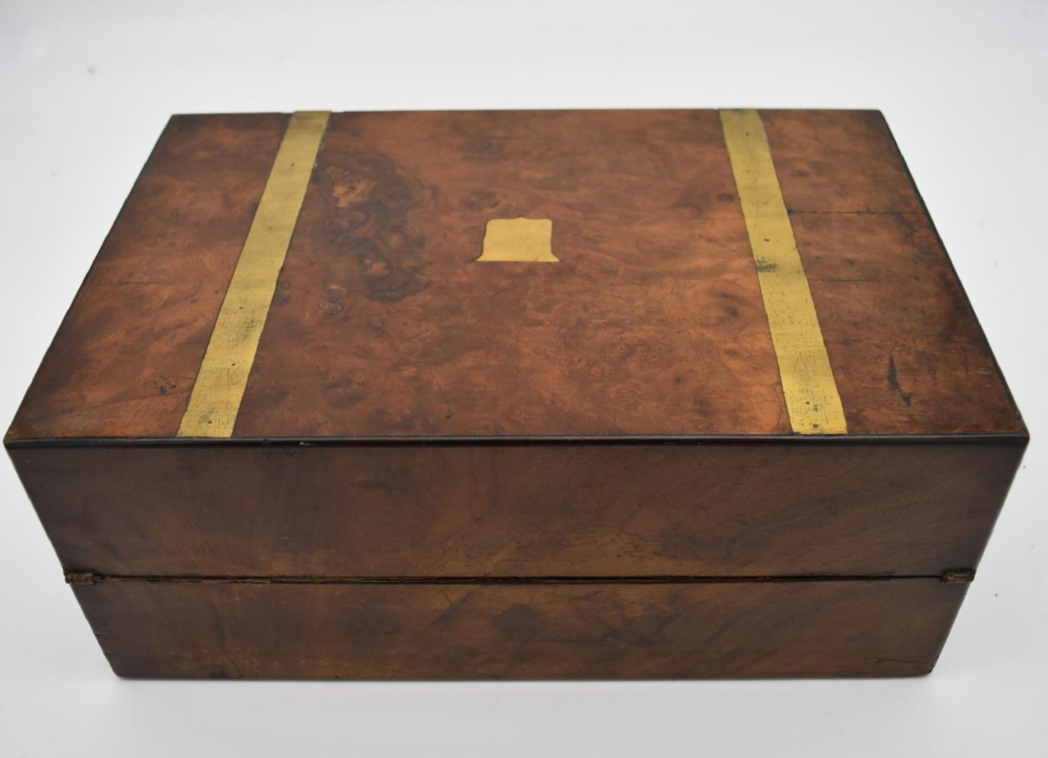 A 19th century brass bound walnut writing slope and two other similar boxes. H.15x35cm - Image 15 of 15