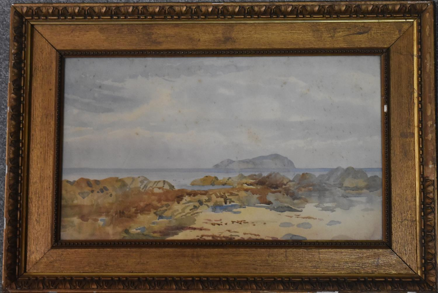 A framed and glazed watercolour of a rocky beach scene and two other framed and glazed watercolours. - Image 4 of 6
