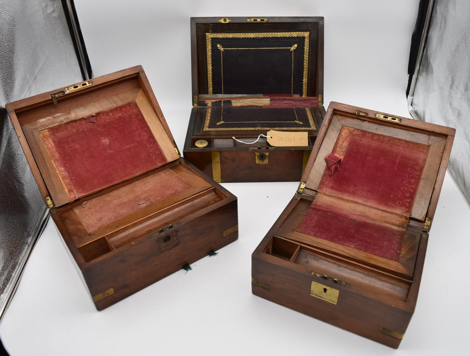 A 19th century brass bound walnut writing slope and two other similar boxes. H.15x35cm - Image 9 of 15