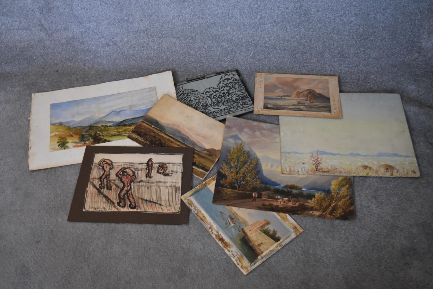A collection of eight unframed watercolours. H.40x50cm (largest)