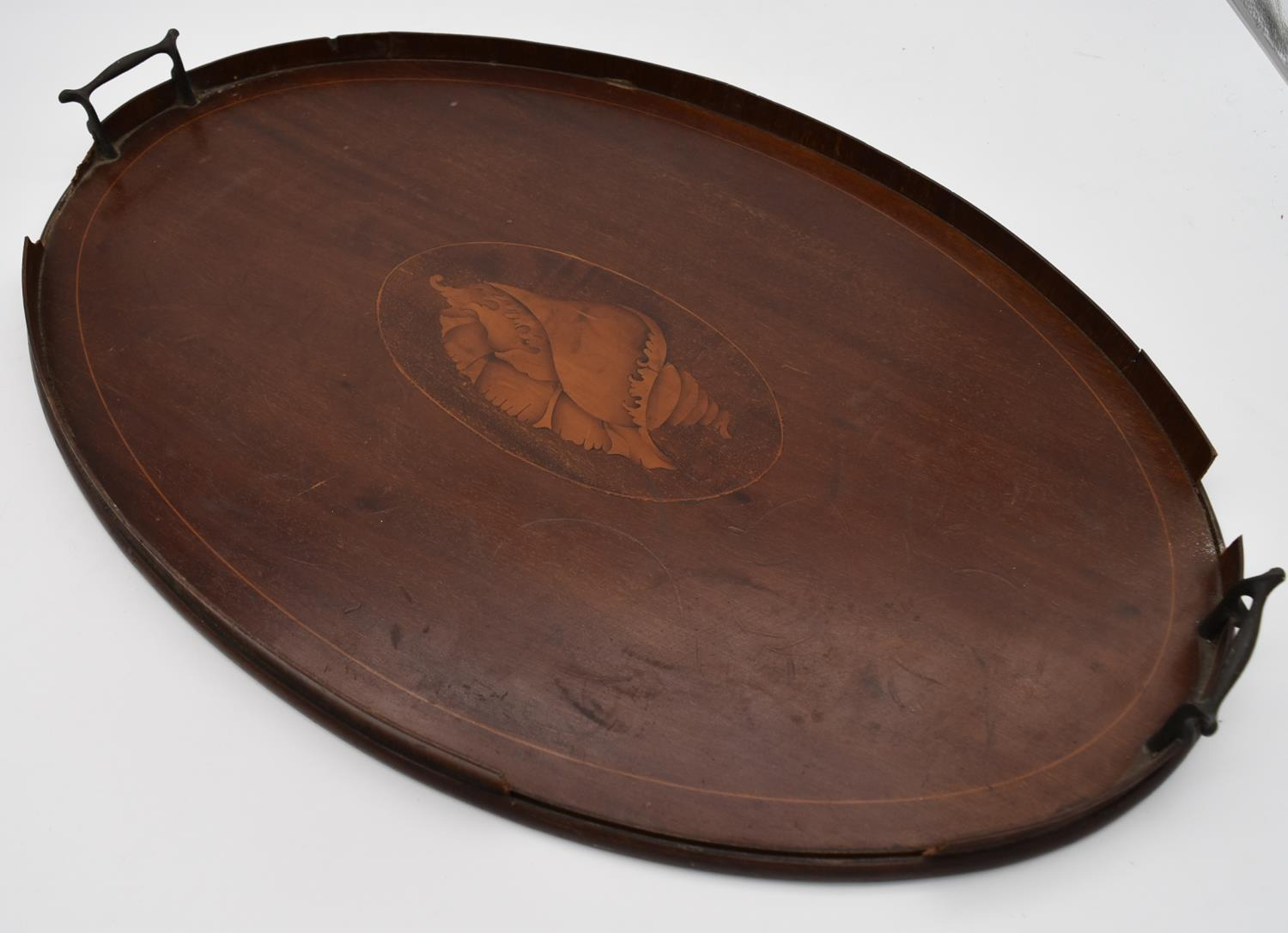 A late 19th century mahogany and satinwood inlaid twin handled tray and two other similar trays. L. - Image 2 of 9