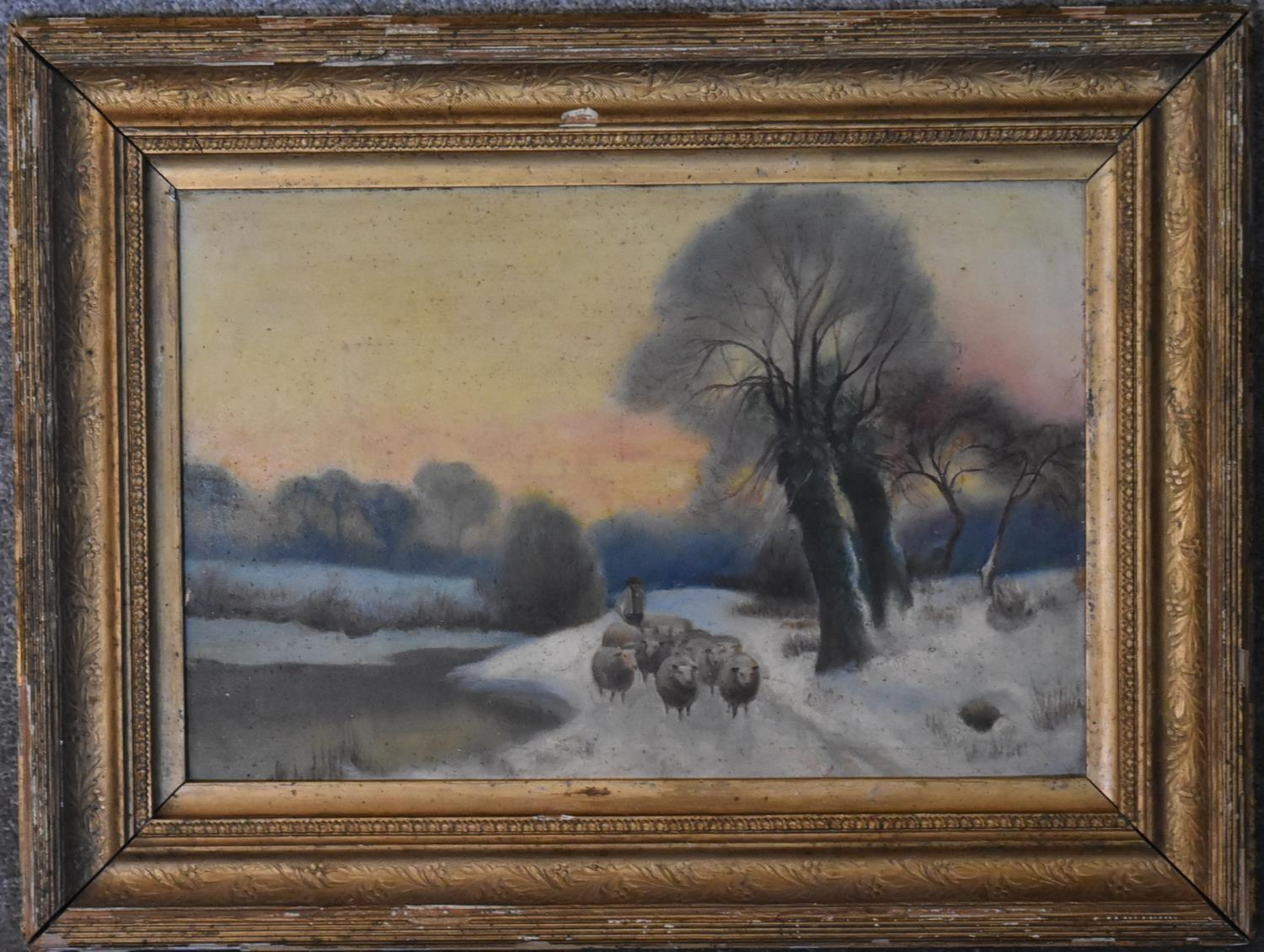 A 19th century gilt framed oil on board, sheep herder and a 19th century painting on glass, - Image 3 of 4