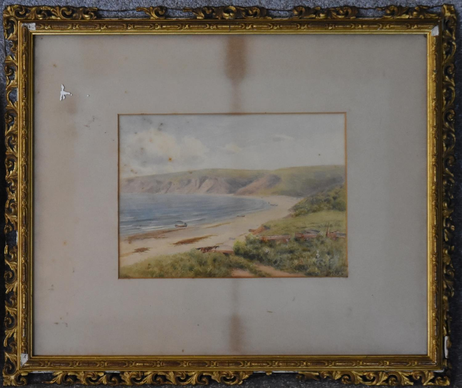 A 19th century gilt framed and glazed watercolour, Whitby Bay, two other framed and glazed - Image 4 of 8
