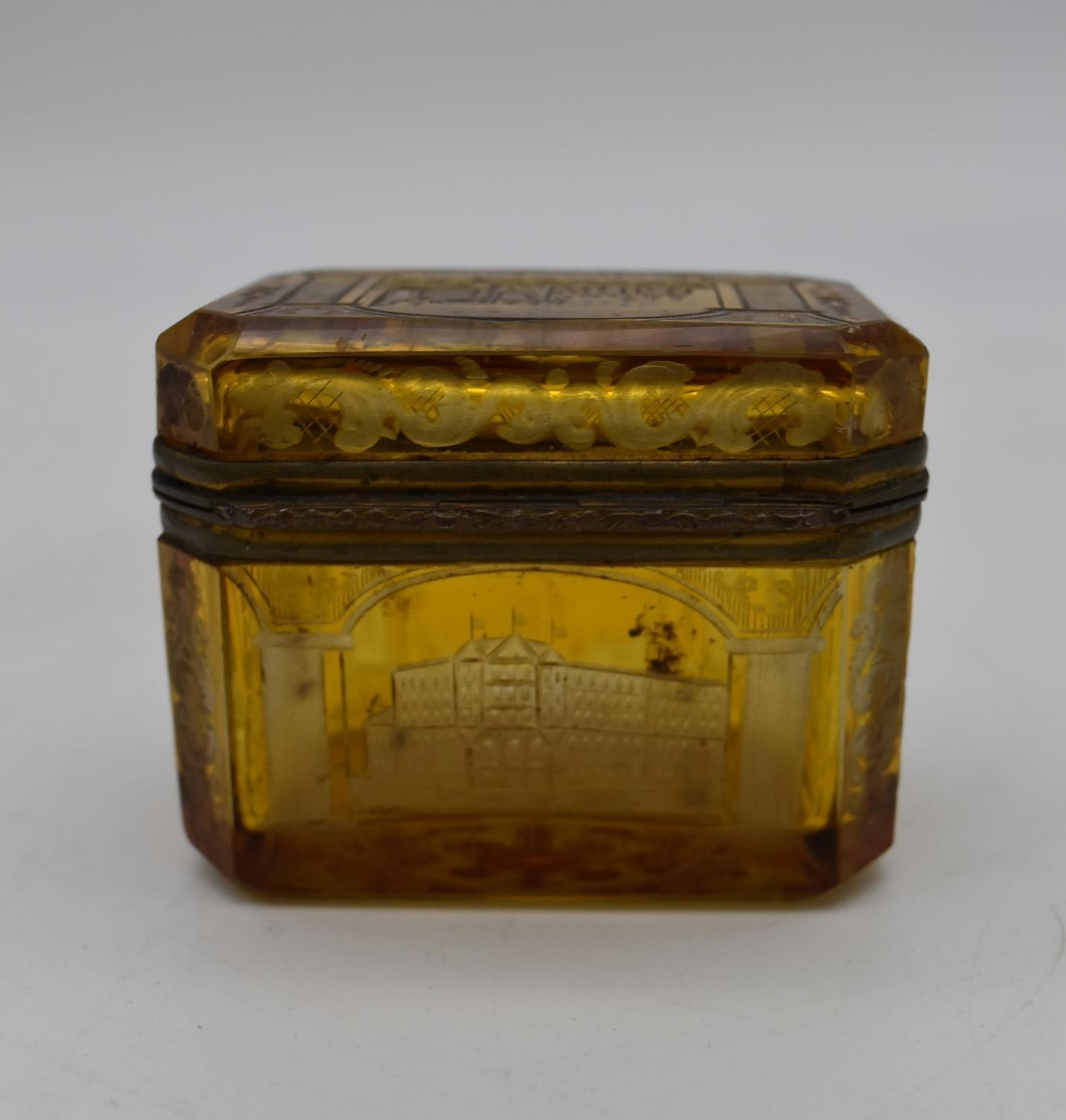 A small 19th century engraved amber glass and ormolu mounted box. H.7x8cm - Image 3 of 4