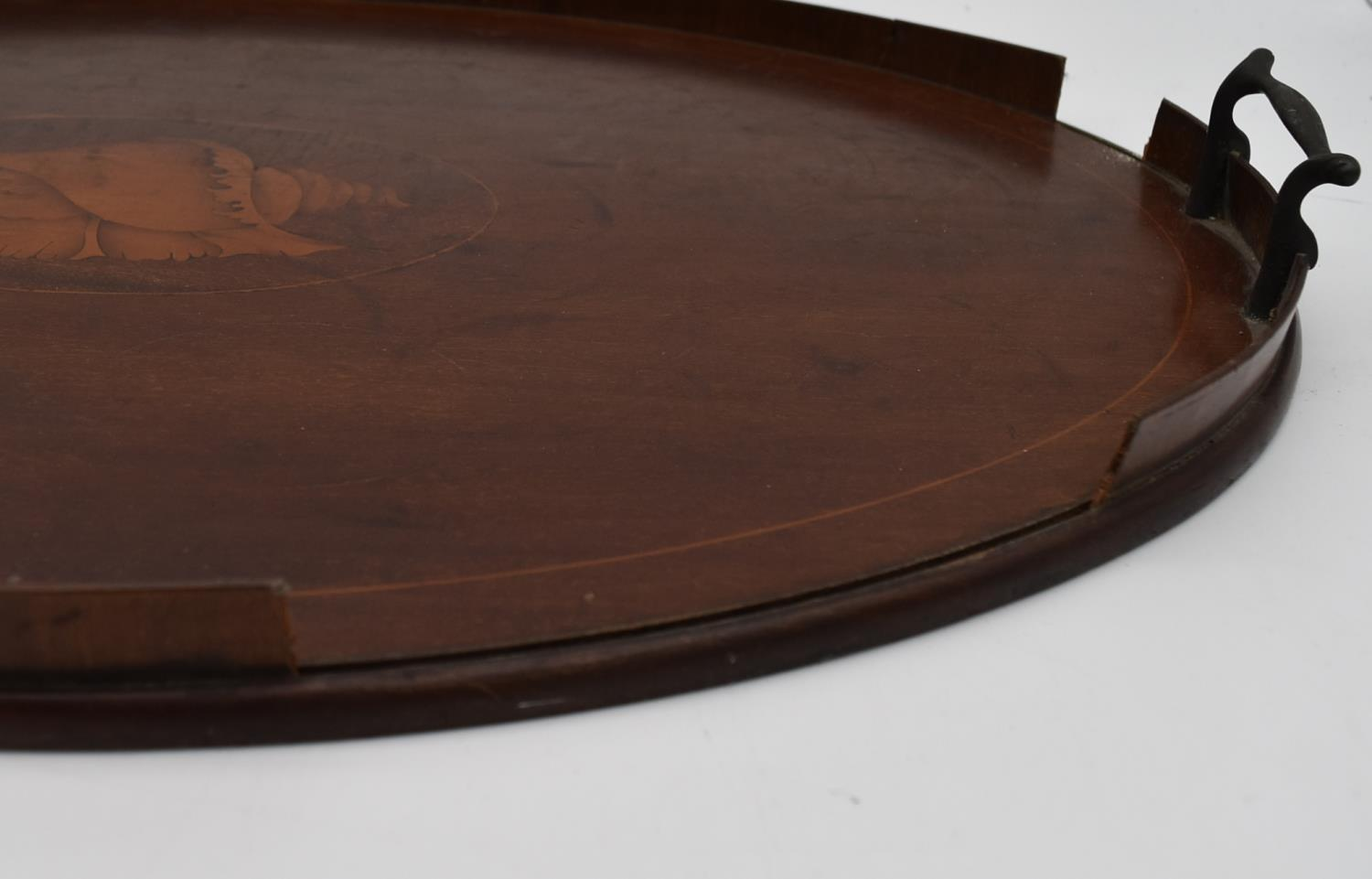 A late 19th century mahogany and satinwood inlaid twin handled tray and two other similar trays. L. - Image 5 of 9