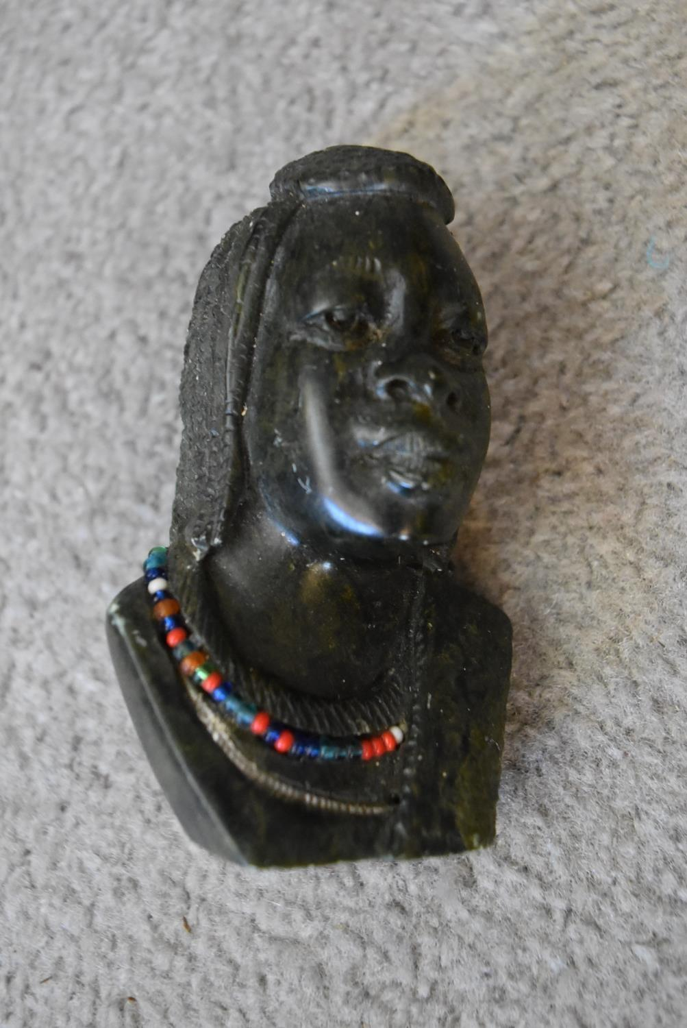 A small carved green hardstone African bust and a collection of various African tribal wooden - Image 5 of 7