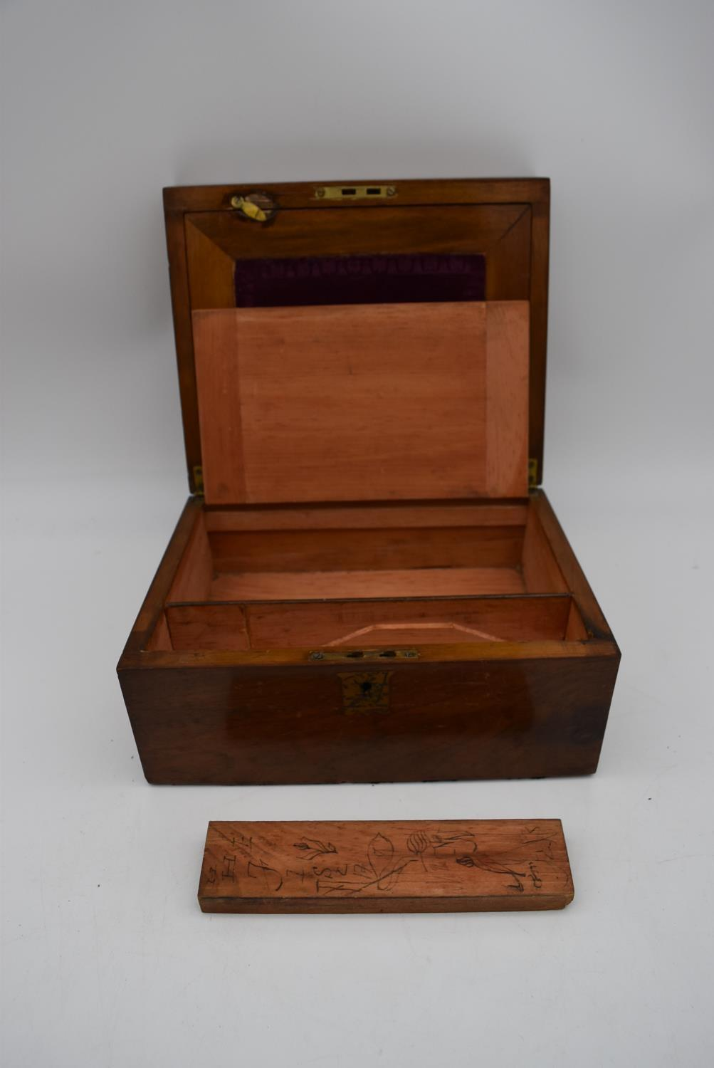 A 19th century walnut fitted box and two other similar boxes. H.14x28cm - Image 9 of 12