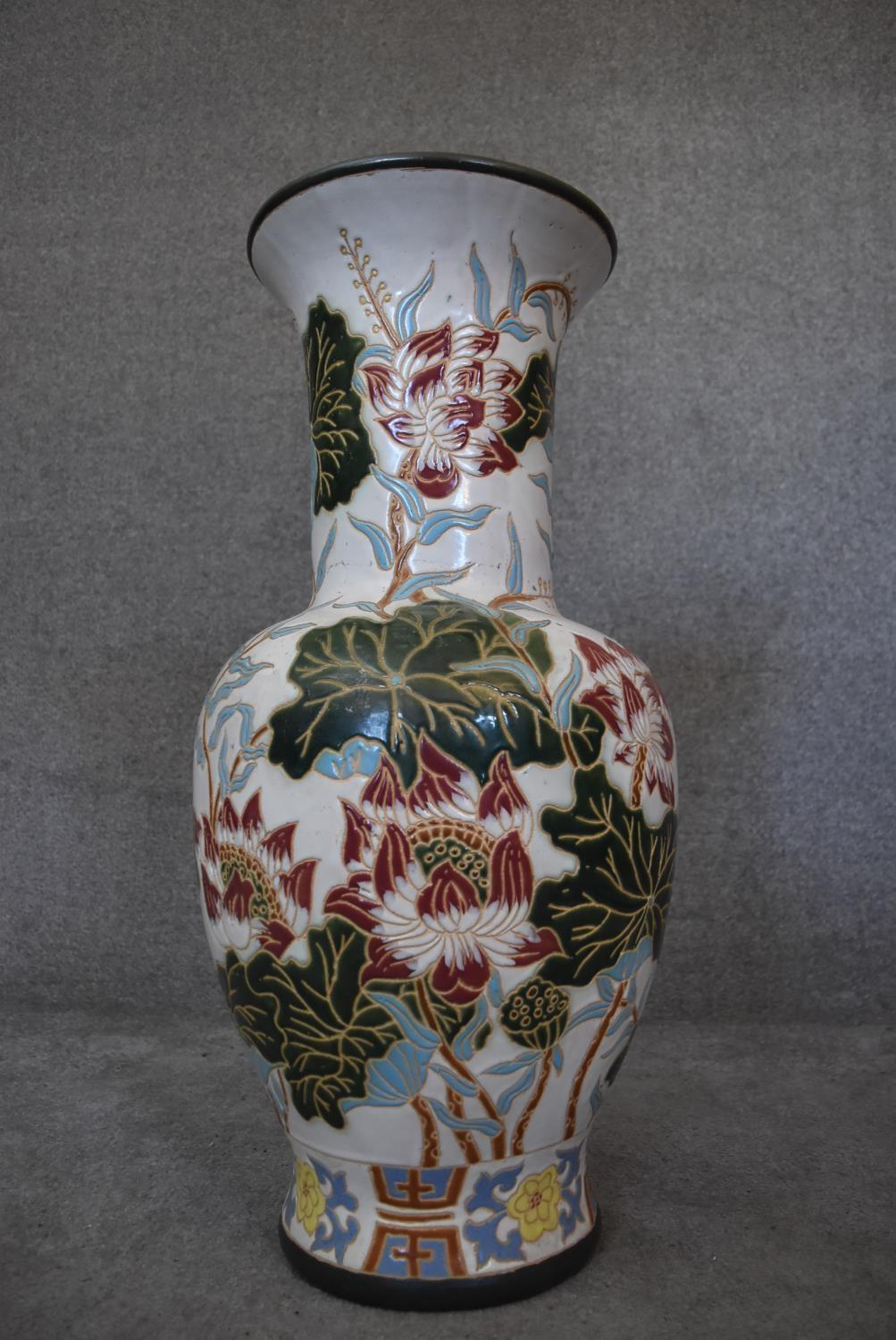A large floor standing ceramic glazed Oriental style vase of bulbous form with lotus flower and - Image 2 of 4