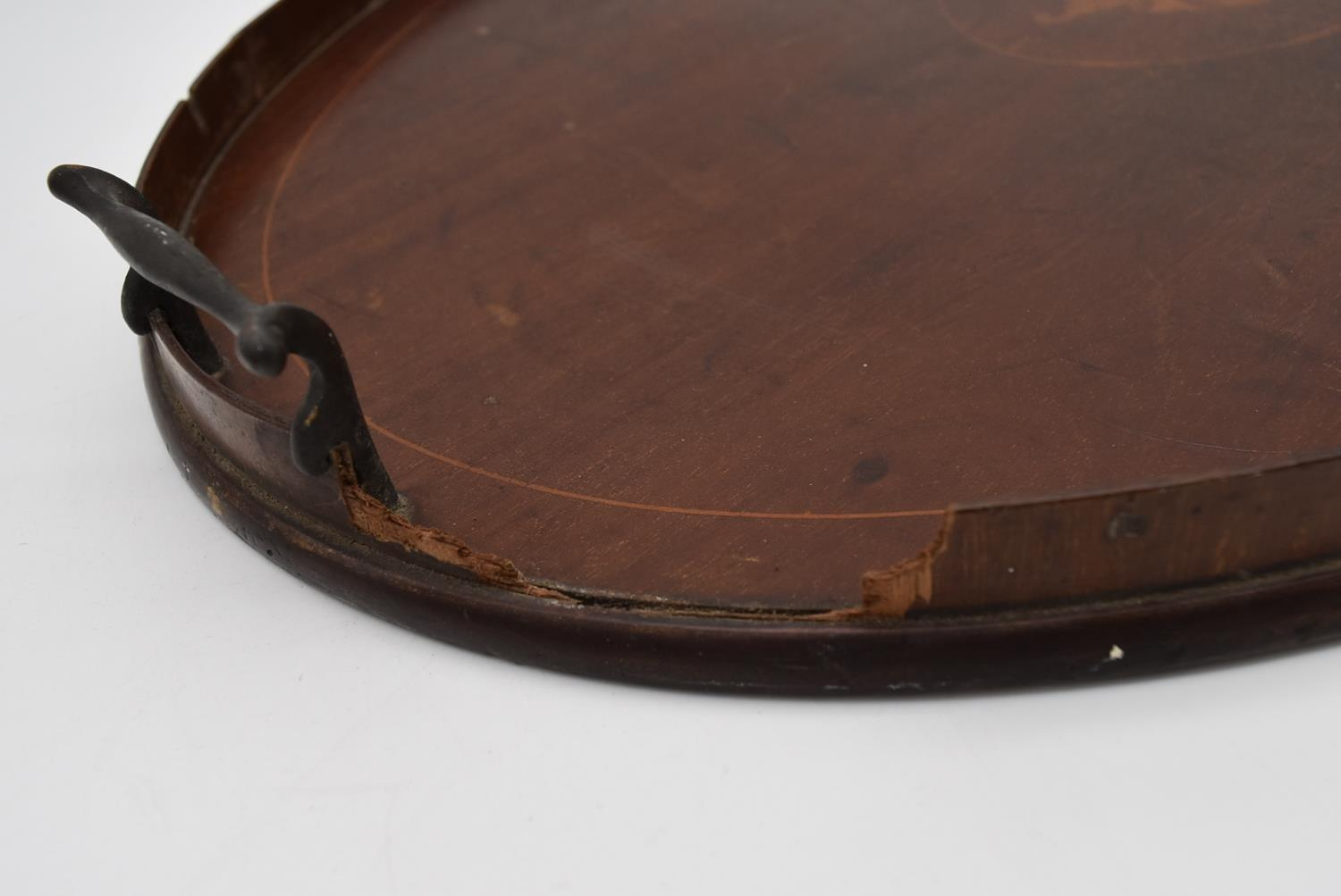 A late 19th century mahogany and satinwood inlaid twin handled tray and two other similar trays. L. - Image 4 of 9