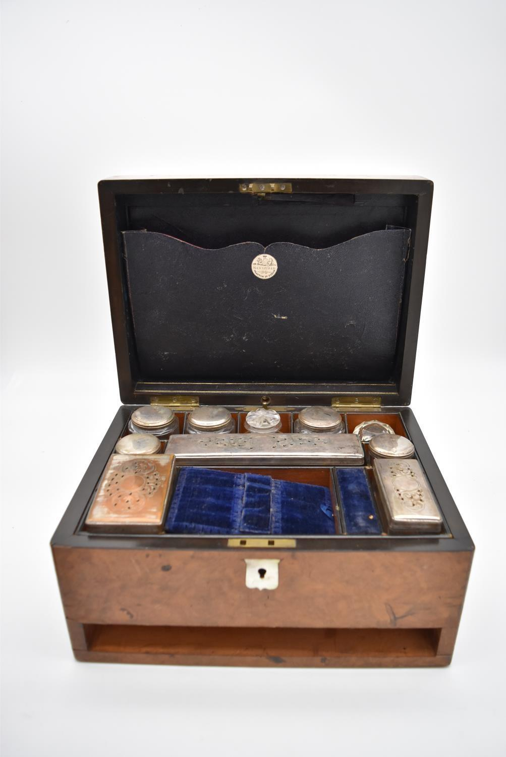 A 19th century burr walnut fitted vanity box (drawer missing) with mother of pearl shield shaped - Image 3 of 7