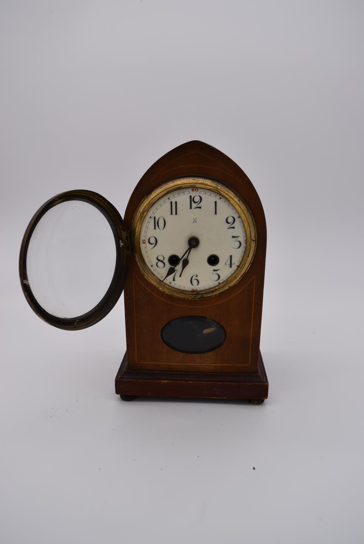 An Edwardian mahogany and satinwood inlaid lancet mantel clock and four other Edwardian mantel - Image 3 of 5