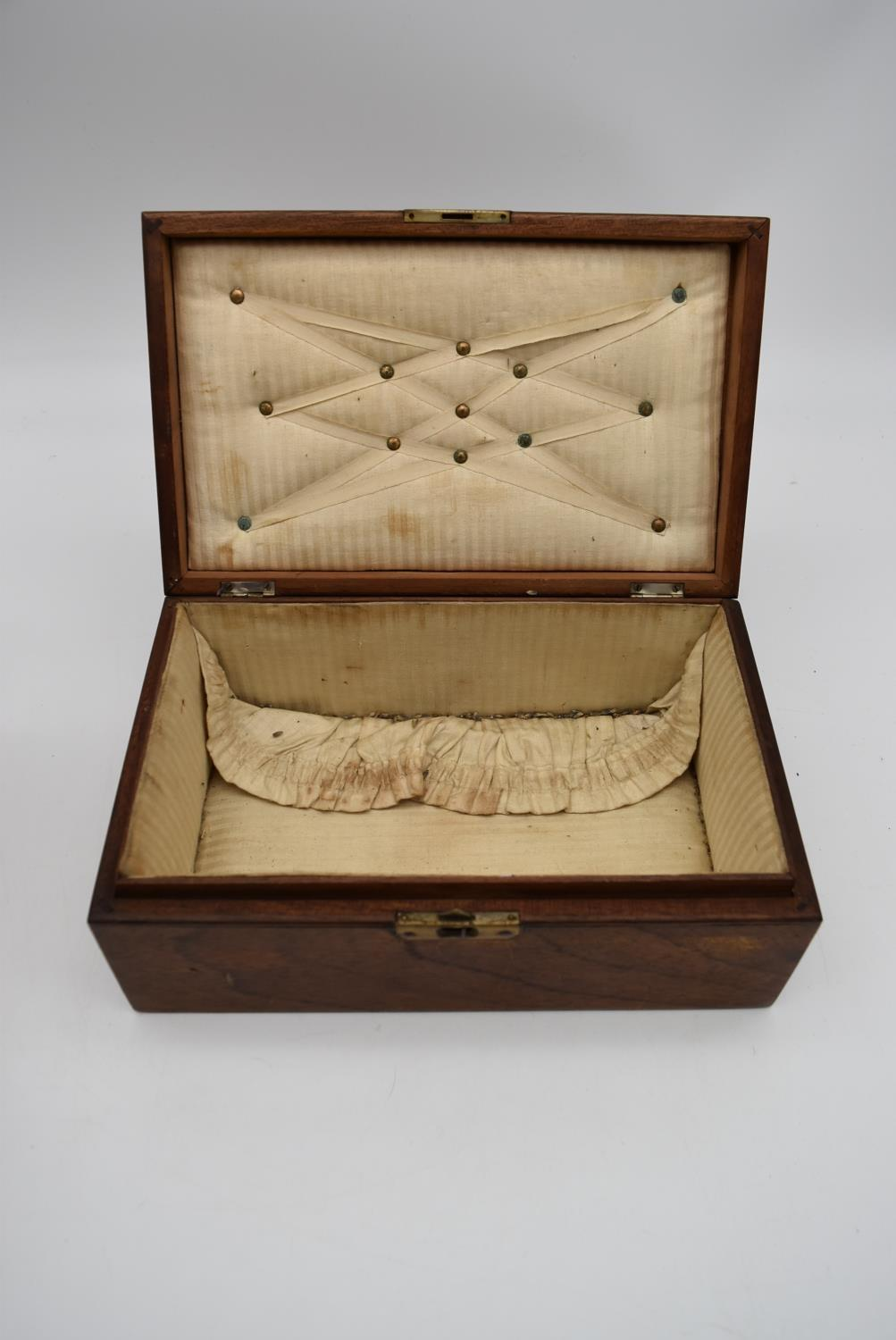 A 19th century walnut fitted box and two other similar boxes. H.14x28cm - Image 12 of 12