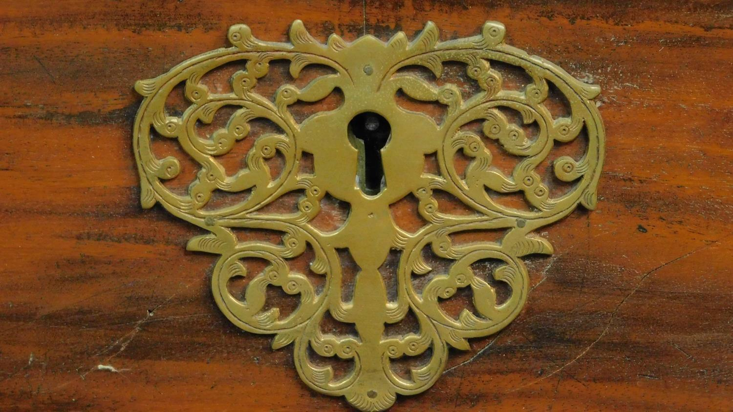 A 19th century Continental ebonised and fruitwood coffer with fret cut brass escutcheon, hinged - Image 3 of 11