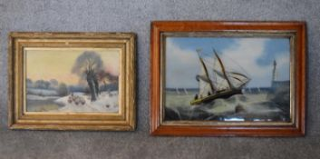 A 19th century gilt framed oil on board, sheep herder and a 19th century painting on glass,