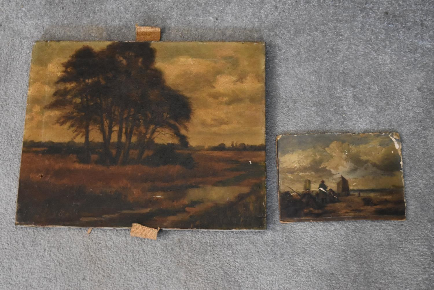 A 19th century unframed oil on canvas, riverscape with cathedral in the distance and a 19th