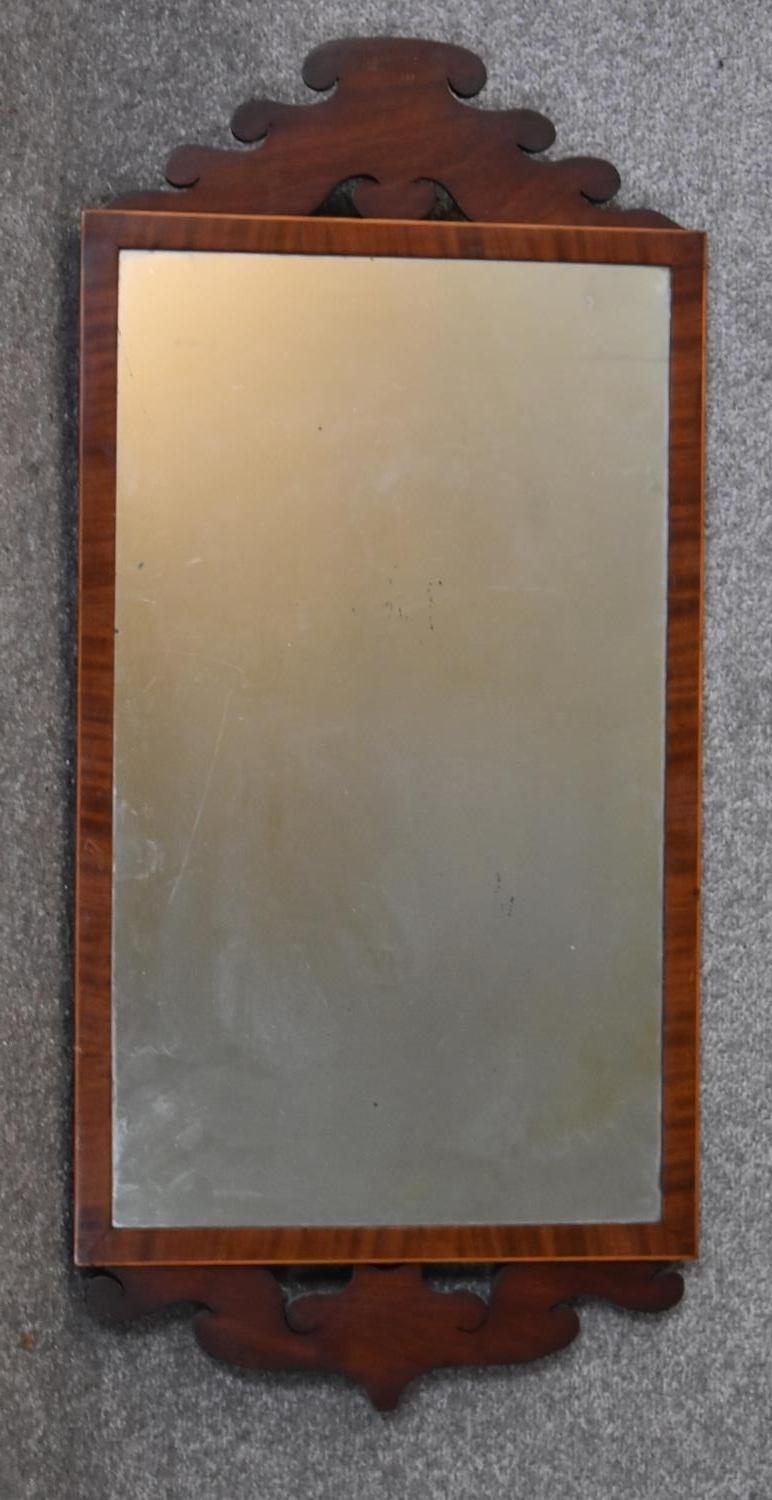 A Georgian mahogany and satinwood inlaid wall mirror and a Chinoiserie lacquered easel dressing - Image 2 of 6