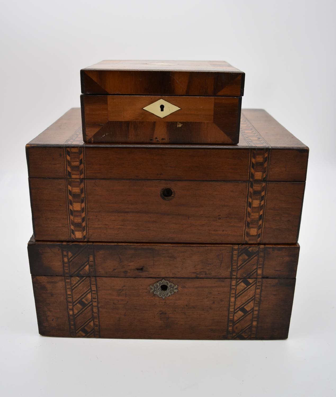 A 19th century burr walnut and crossbanded jewellery box snd two other 19th century Tunbridgeware