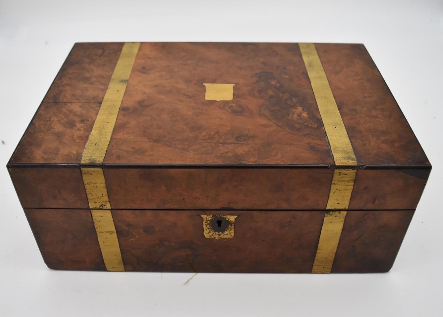 A 19th century brass bound walnut writing slope and two other similar boxes. H.15x35cm - Image 7 of 15