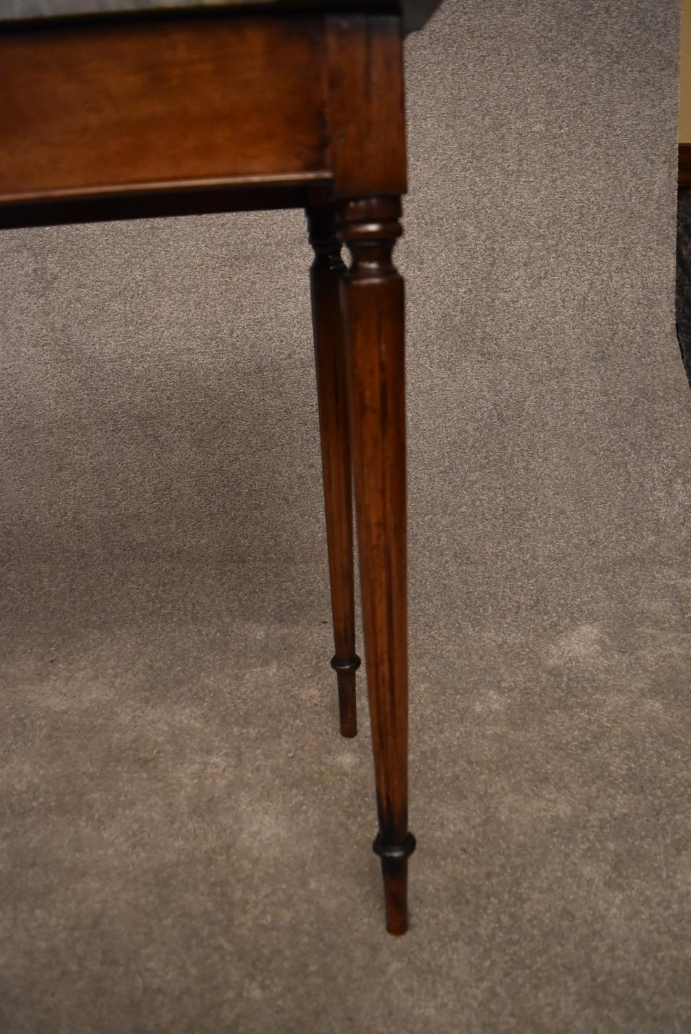 A 19th century mahogany console table with grey marble top on reeded tapering supports. H.75x82x43cm - Image 5 of 5