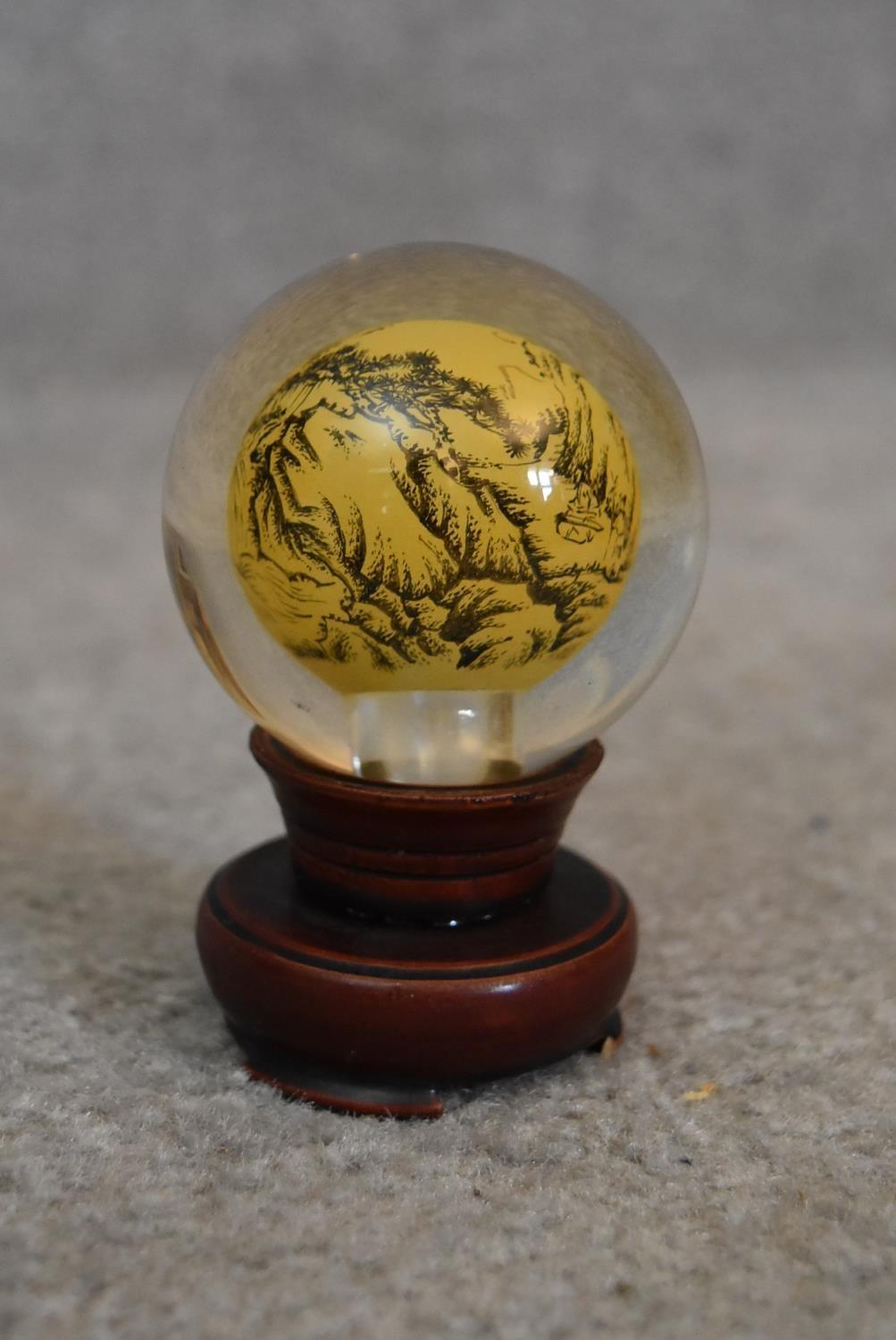 Two Japanese reverse painted globes with Japanese mountains and landscapes, a Japanese reverse - Image 2 of 5