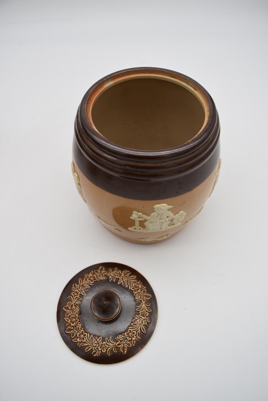 An antique Royal Doulton tobacco jar along with three antique salt glaze earthenware jugs. H.25cm - Image 4 of 6