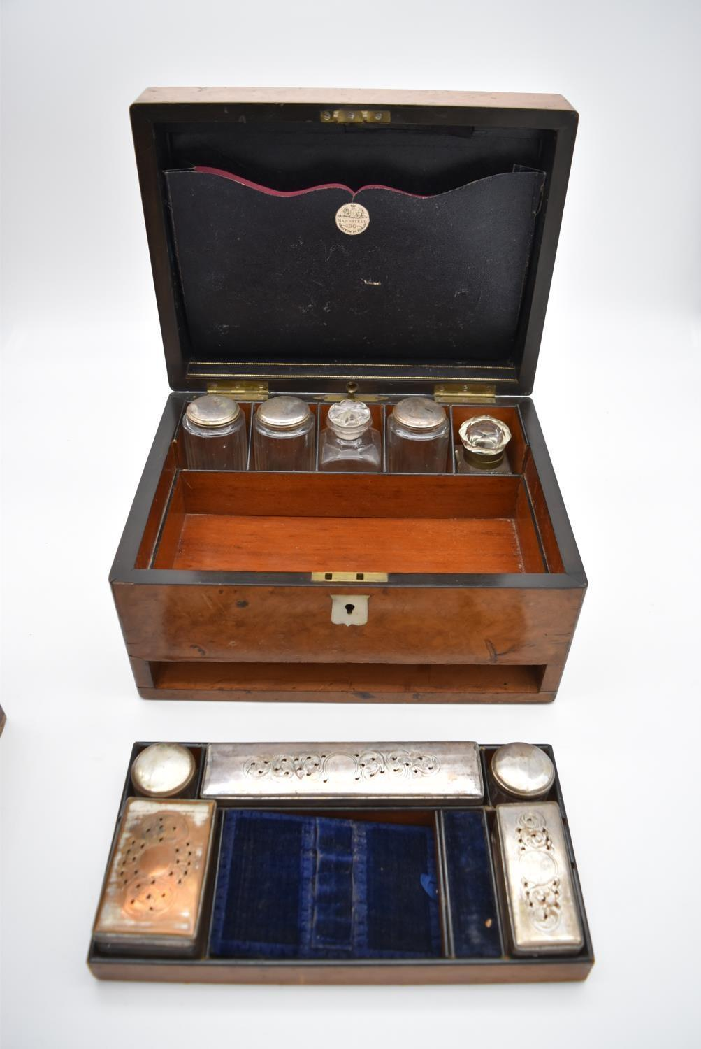 A 19th century burr walnut fitted vanity box (drawer missing) with mother of pearl shield shaped - Image 5 of 7