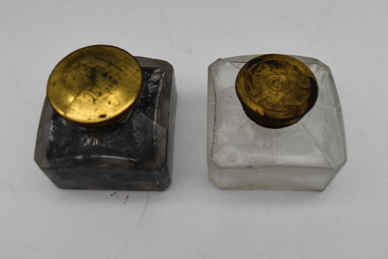 A 19th century brass bound walnut writing slope and two other similar boxes. H.15x35cm - Image 4 of 15