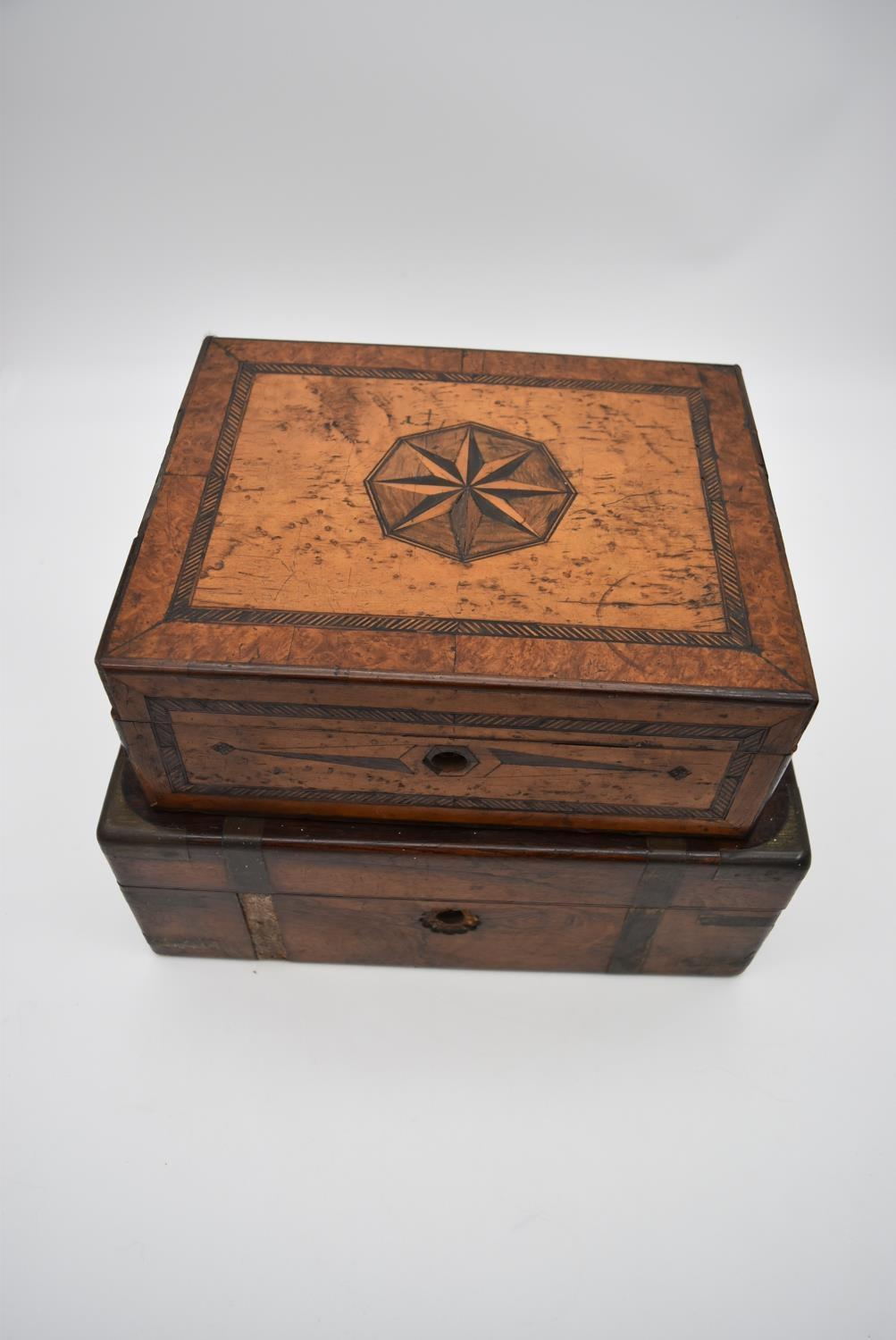 A 19th century yew, bird's eye maple, ebony and satinwood inlaid jewellery box and a 19th century - Image 2 of 4
