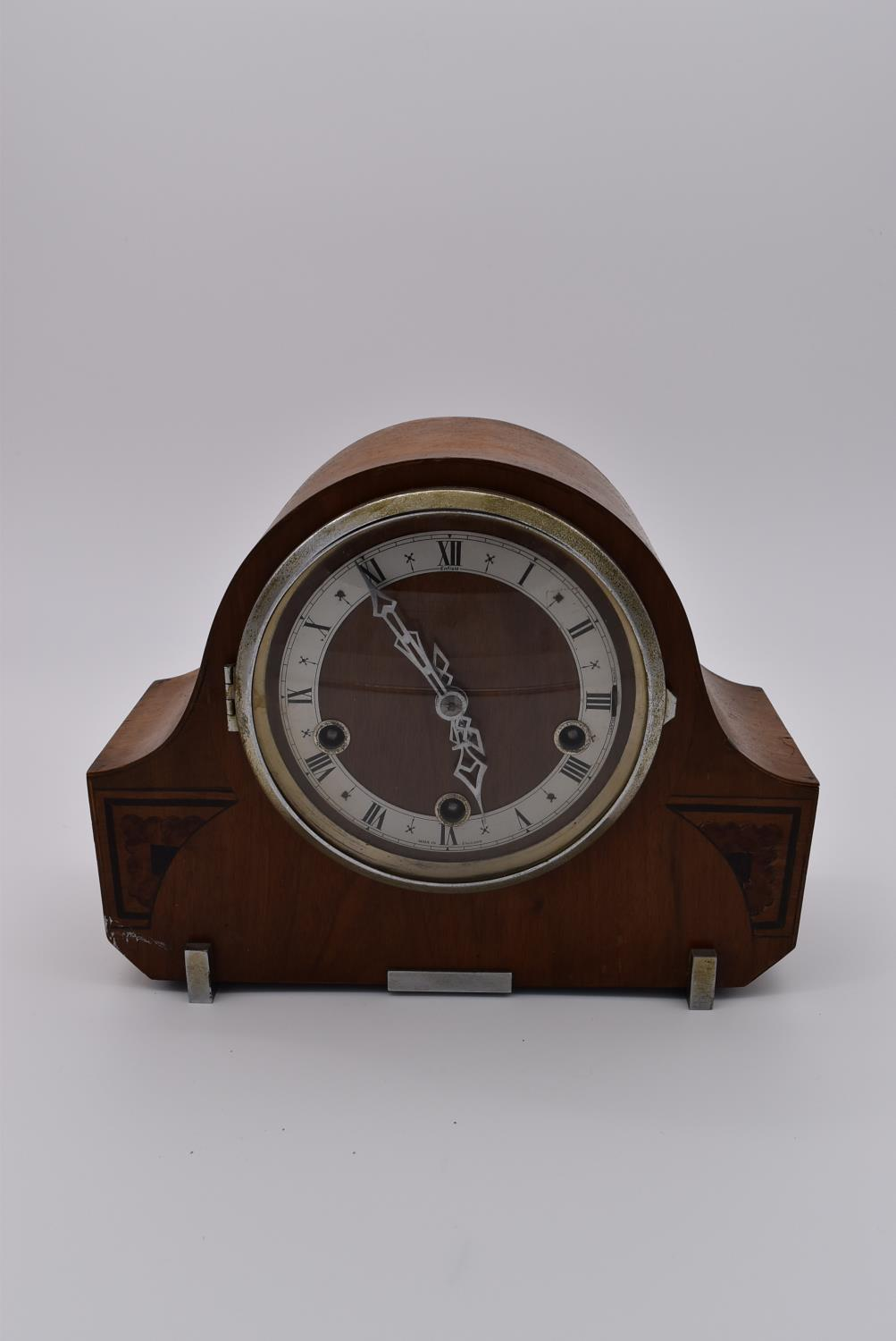 A collection of five mid 20th century mantel clocks with English brass movements. Some have roman - Image 2 of 8