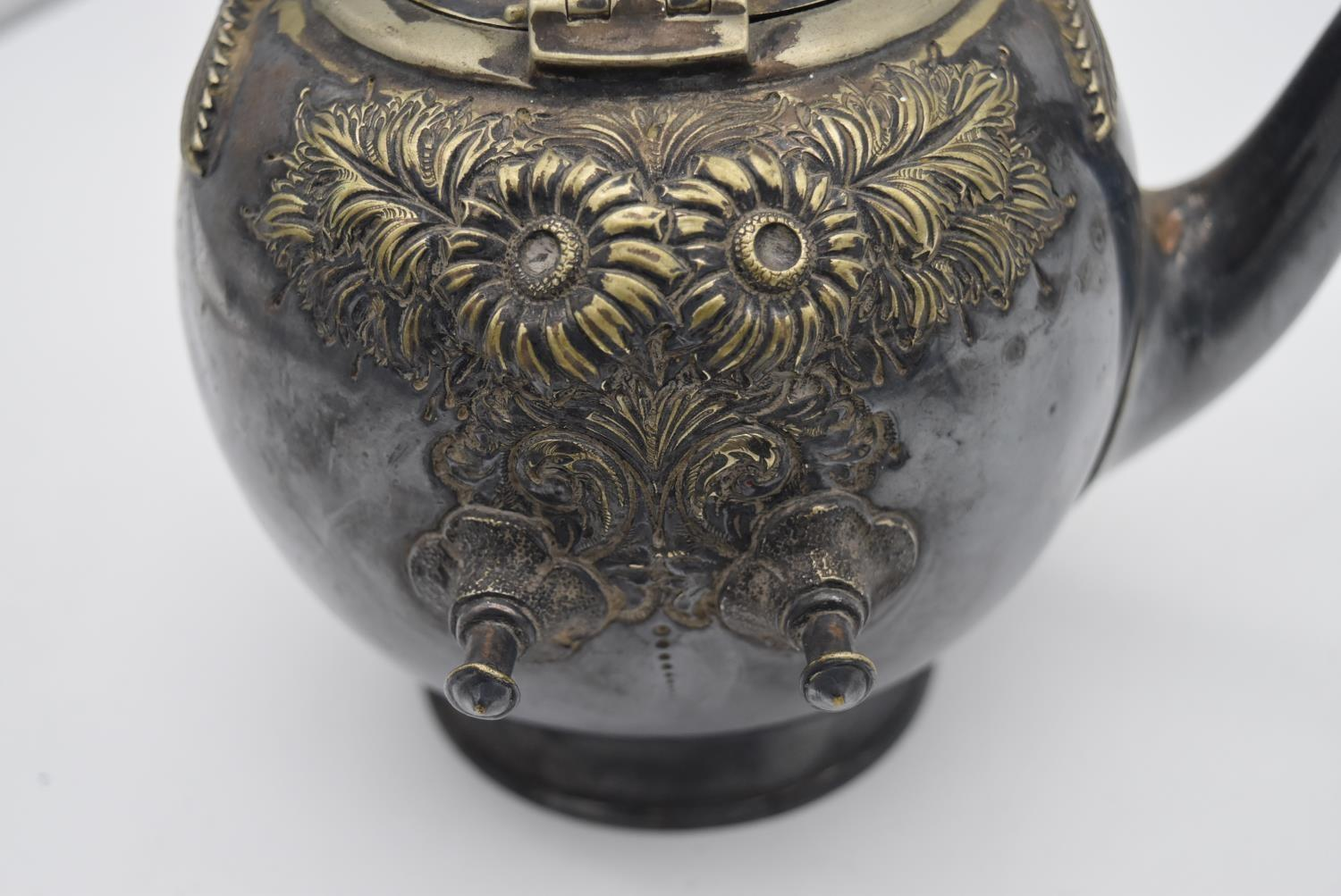 A 19th century silver plated spirit kettle on stand and a collection of five copper and brass - Image 6 of 8