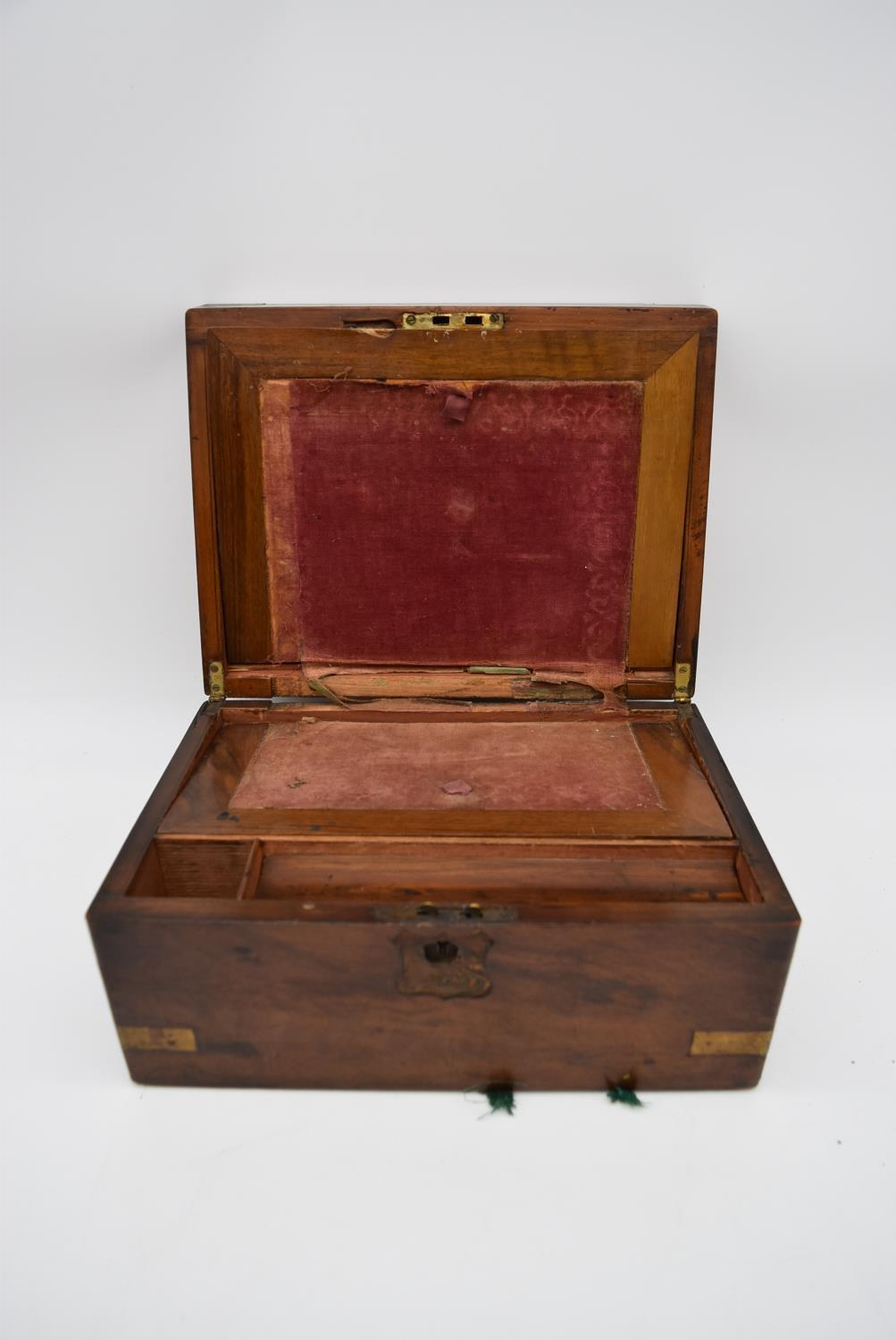 A 19th century brass bound walnut writing slope and two other similar boxes. H.15x35cm - Image 14 of 15