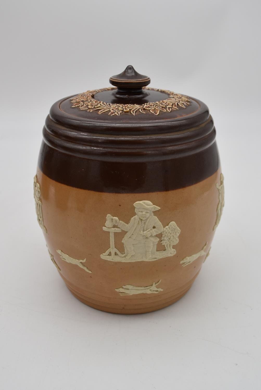 An antique Royal Doulton tobacco jar along with three antique salt glaze earthenware jugs. H.25cm - Image 3 of 6
