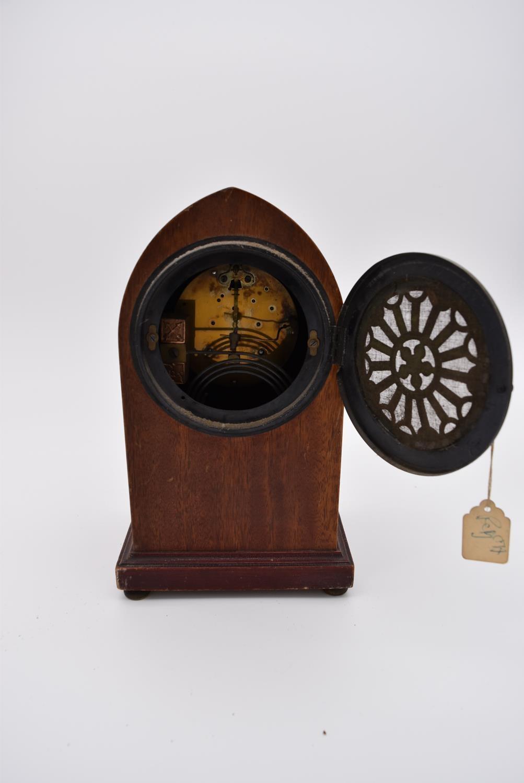 An Edwardian mahogany and satinwood inlaid lancet mantel clock and four other Edwardian mantel - Image 5 of 5