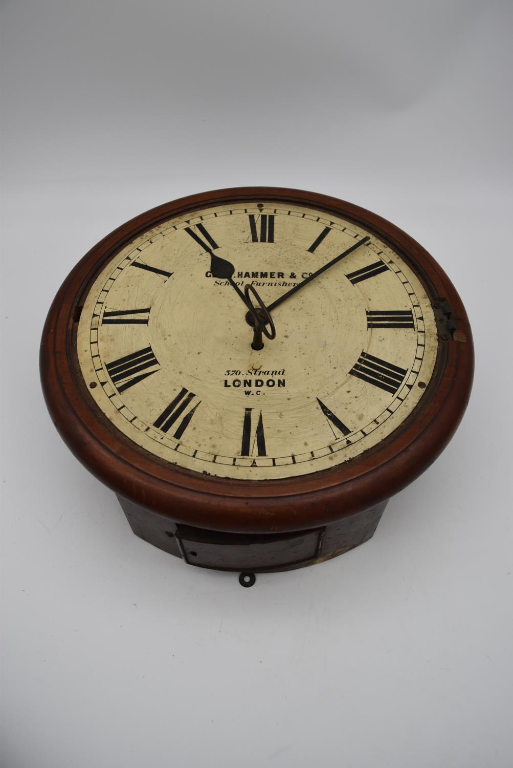 A 19th century mahogany cased drop dial wall clock, Geo Hammer and Co, a dial clock face and - Image 5 of 10