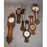 An early 19th century rosewood cased stick barometer and a miscellaneous collection of five late