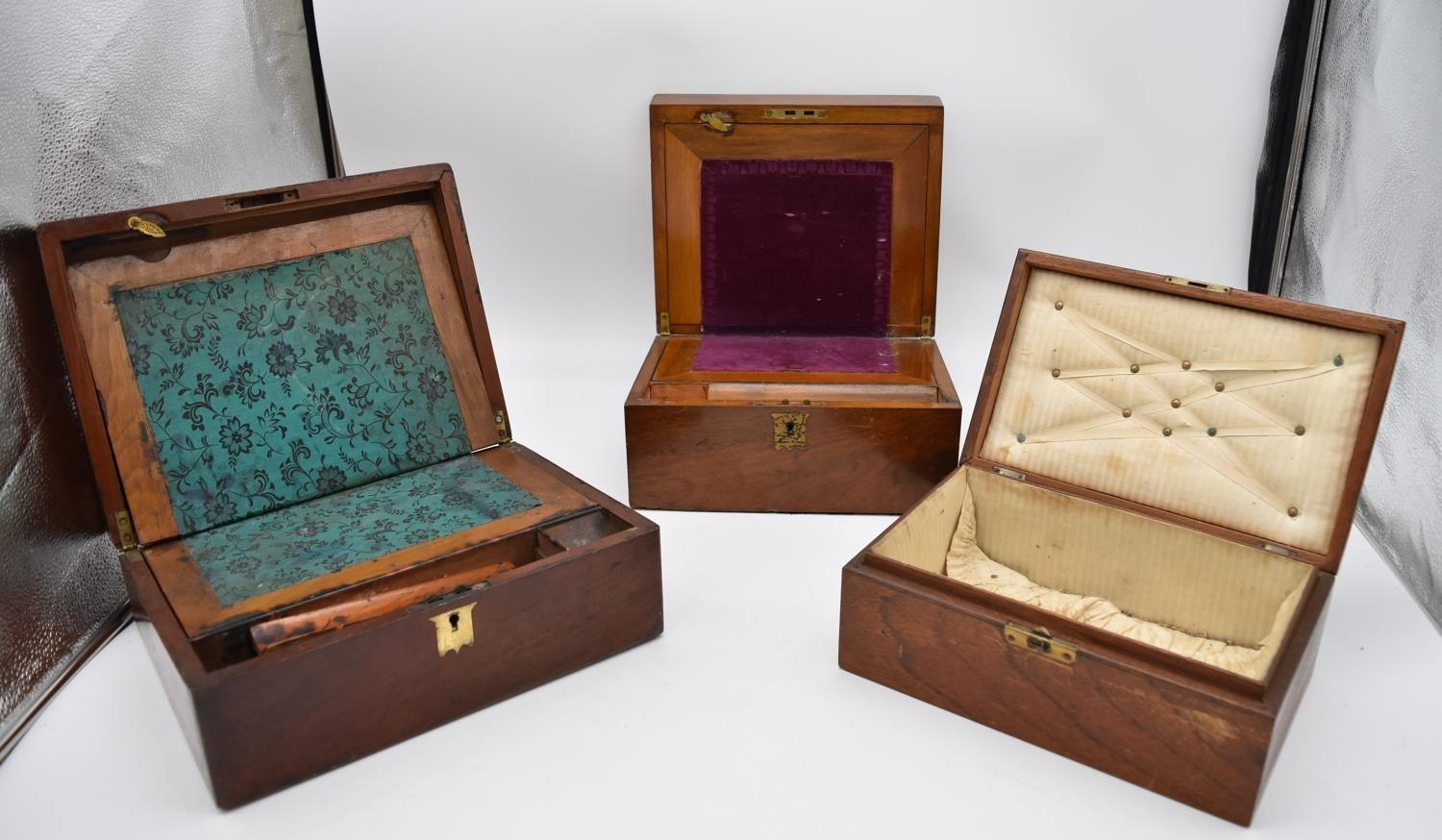 A 19th century walnut fitted box and two other similar boxes. H.14x28cm - Image 5 of 12
