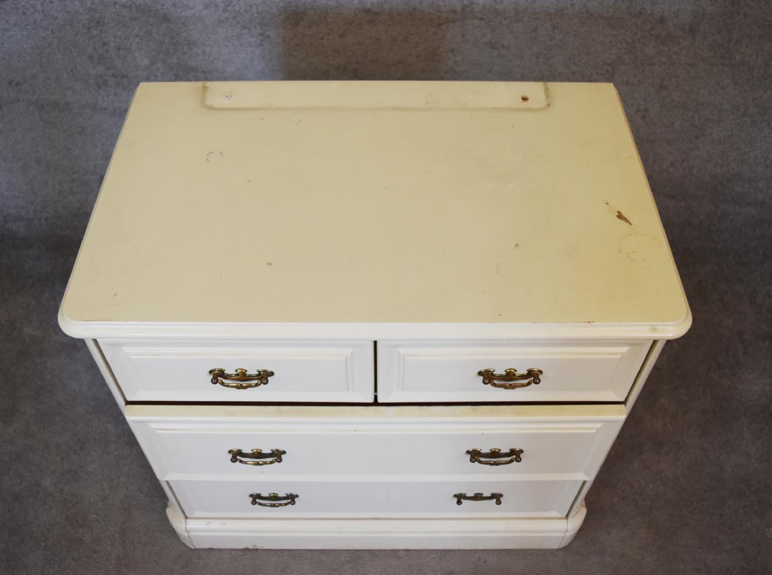 A white lacquered Victorian style chest of drawers. H.70x74x47cm (missing superstructure) - Image 4 of 4