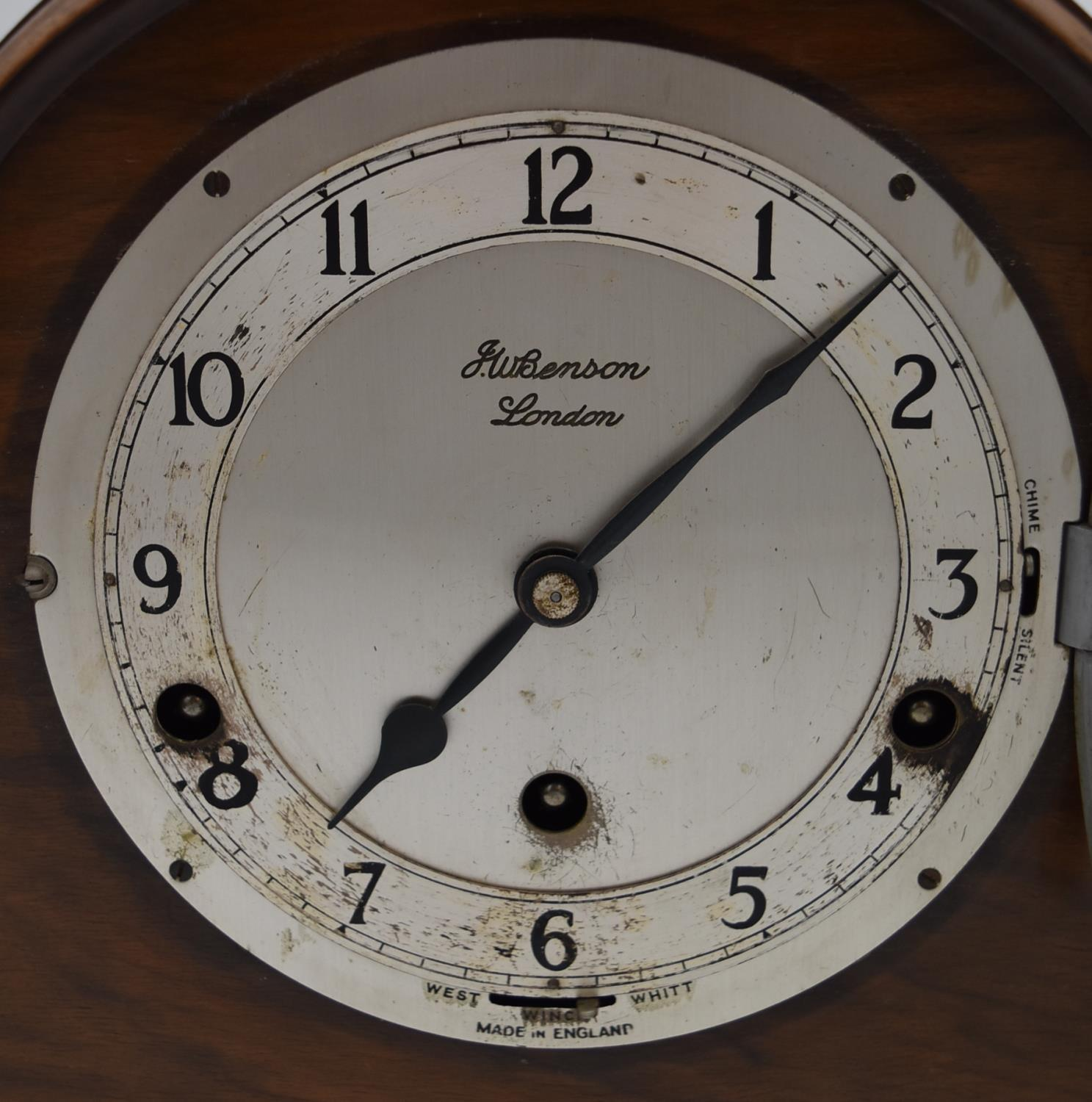A miscellaneous collection of six mid 20th century mantel clocks. One by JW Benson of London. H. - Image 3 of 6