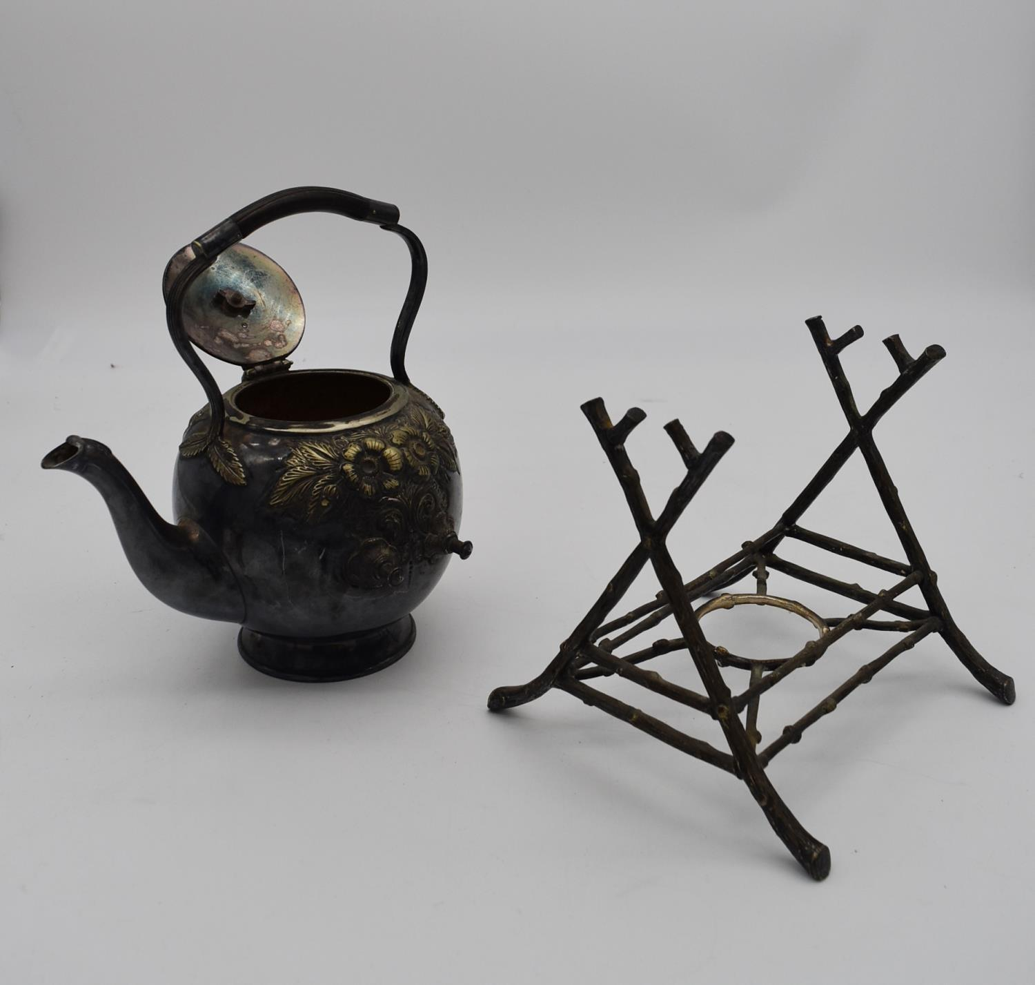 A 19th century silver plated spirit kettle on stand and a collection of five copper and brass - Image 2 of 8