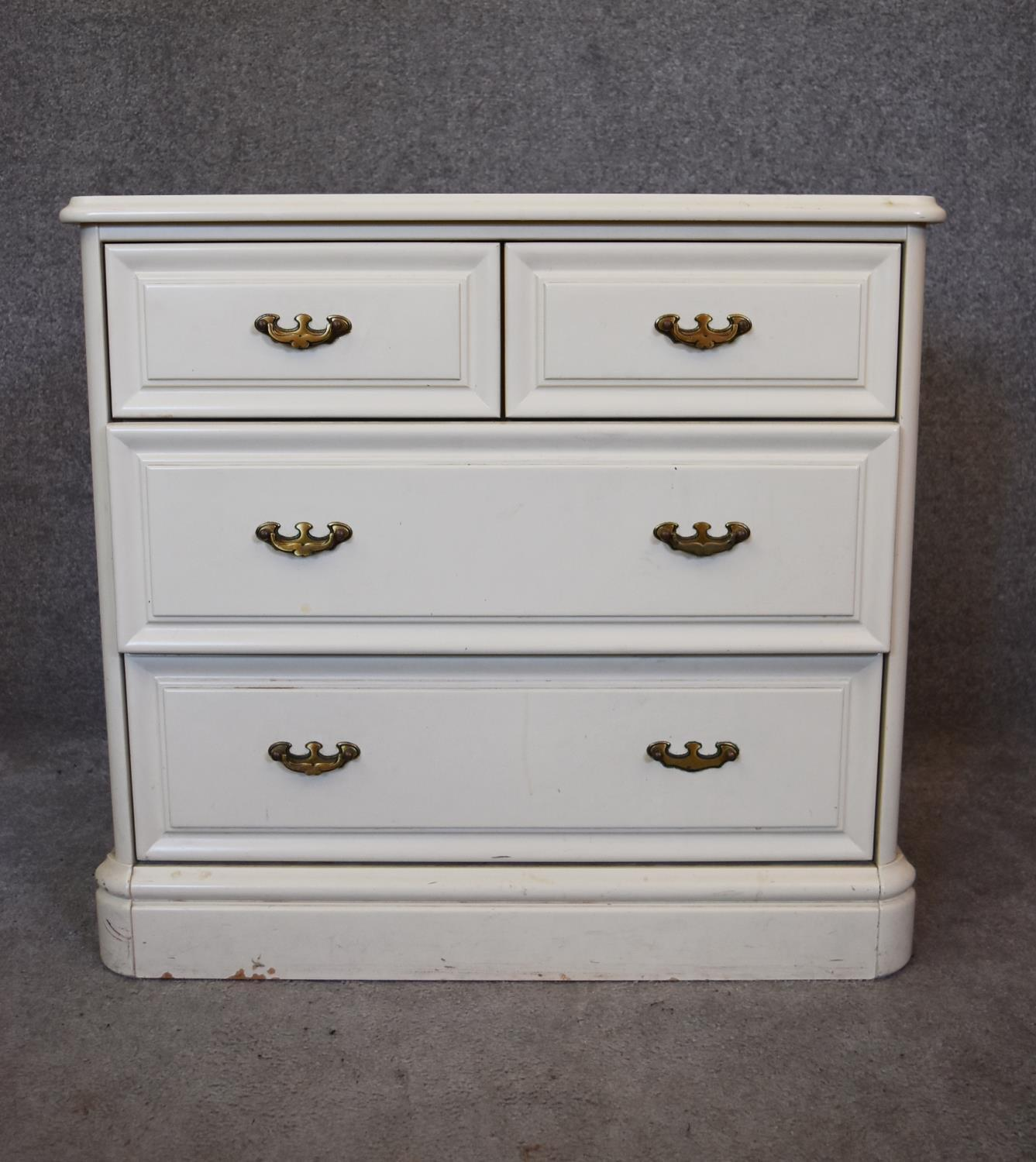 A white lacquered Victorian style chest of drawers. H.70x74x47cm (missing superstructure)