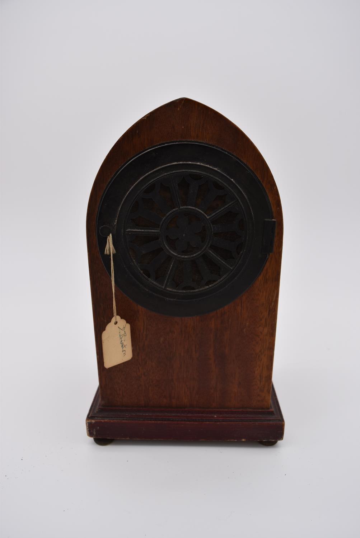 An Edwardian mahogany and satinwood inlaid lancet mantel clock and four other Edwardian mantel - Image 4 of 5