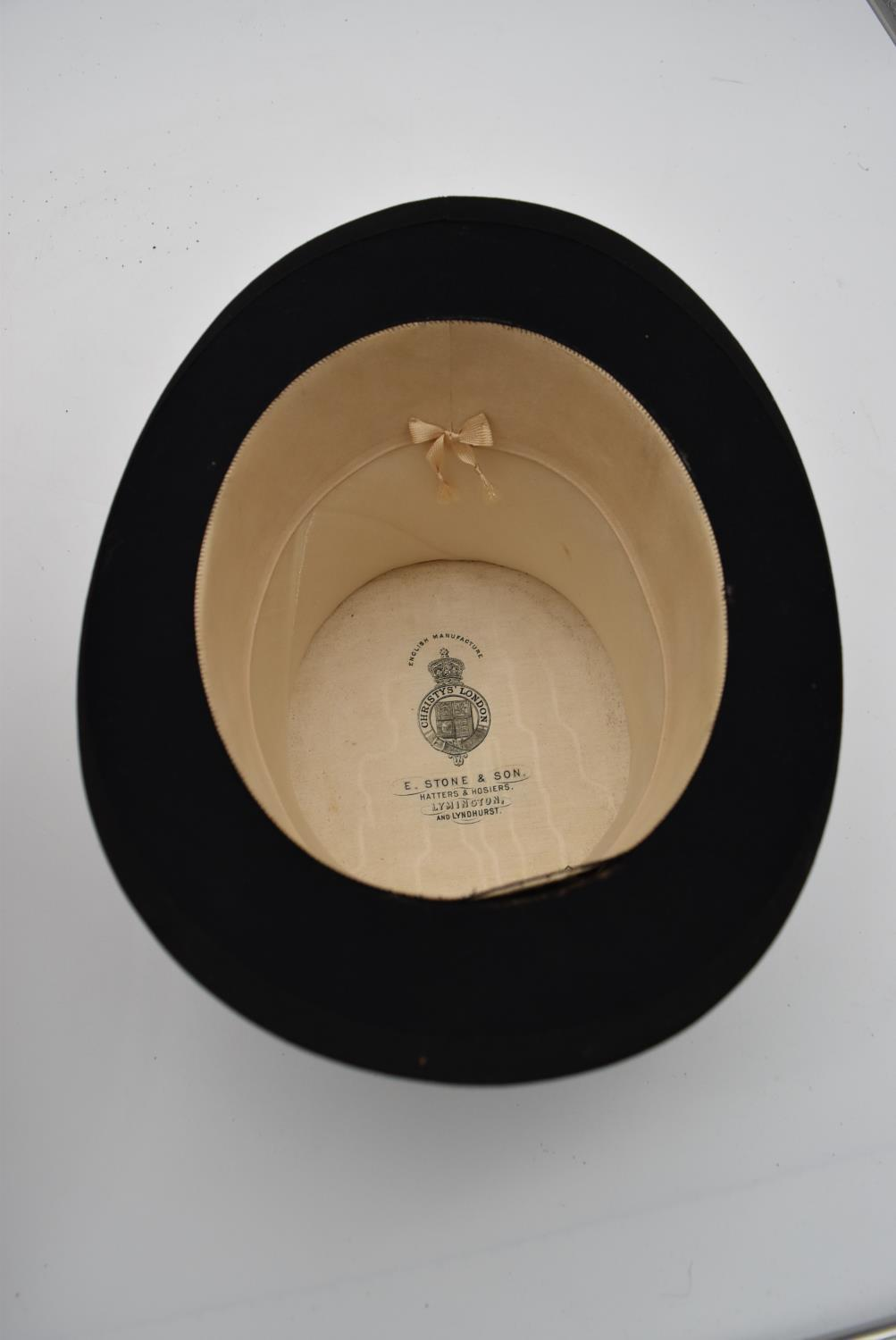 A silk top hat by Christy's London in fitted leather carrying case. H.30x35cm (box) - Image 7 of 8