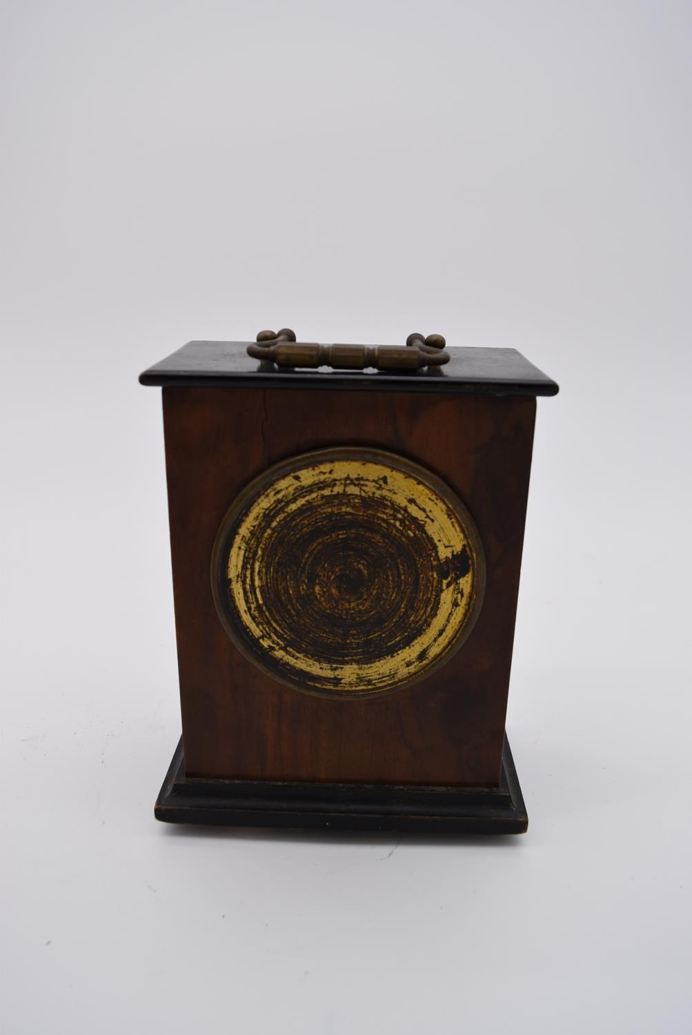 A brass cased carriage clock with engraved brass front with scrolling design and white enamel dial - Image 8 of 8