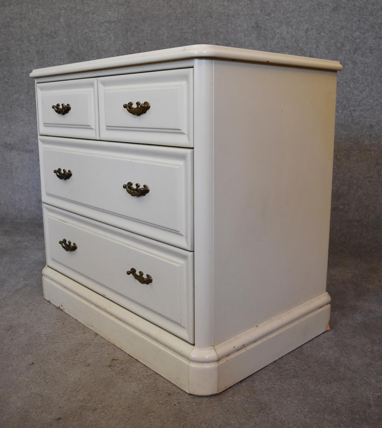 A white lacquered Victorian style chest of drawers. H.70x74x47cm (missing superstructure) - Image 2 of 4