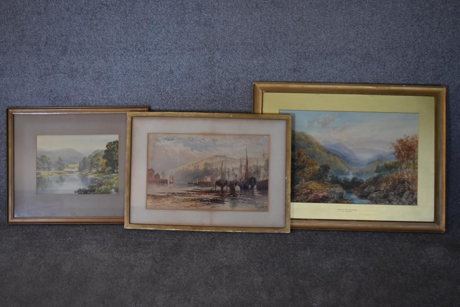 A framed and glazed watercolour; The Pass of Killliecrancie by W. Harford and two other framed and