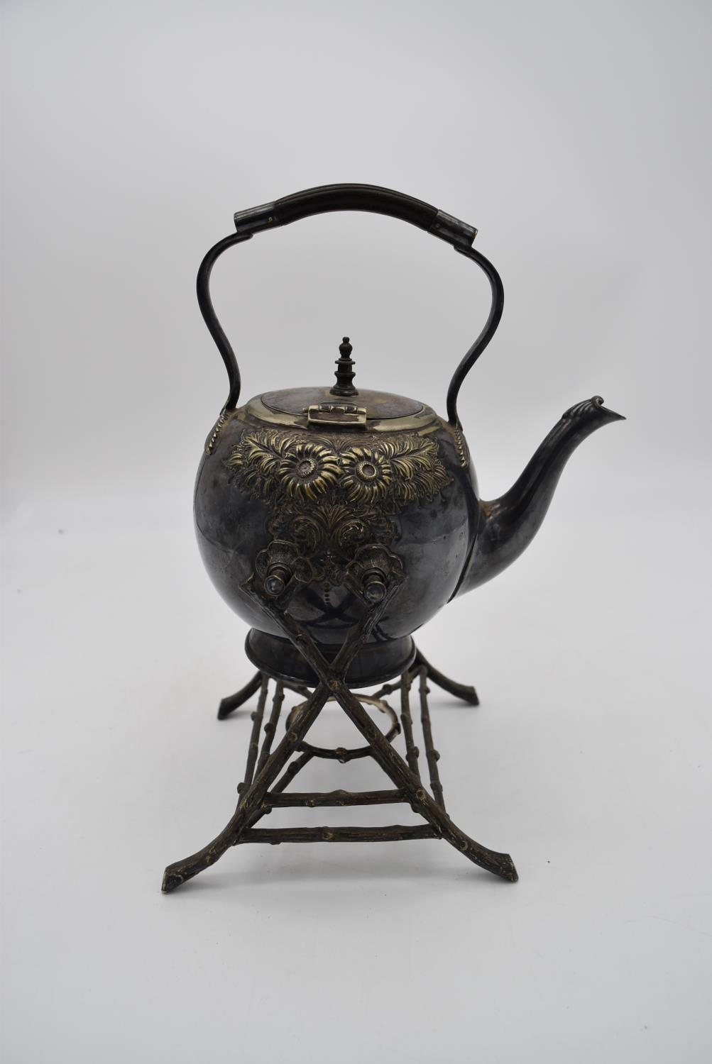 A 19th century silver plated spirit kettle on stand and a collection of five copper and brass - Image 8 of 8