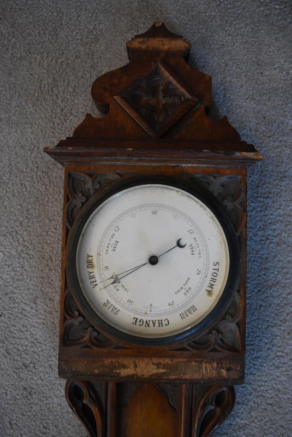 An early 19th century rosewood cased stick barometer and a miscellaneous collection of five late - Image 3 of 9