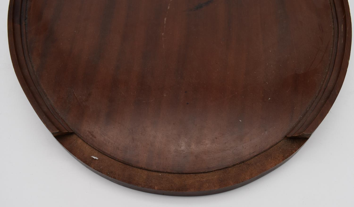 A late 19th century mahogany and satinwood inlaid twin handled tray and two other similar trays. L. - Image 9 of 9