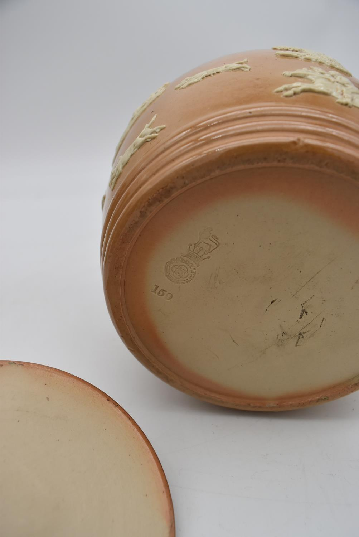 An antique Royal Doulton tobacco jar along with three antique salt glaze earthenware jugs. H.25cm - Image 6 of 6