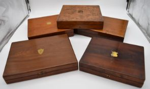 A miscellaneous collection of five 19th century cutlery boxes one to include silver plated and ivory